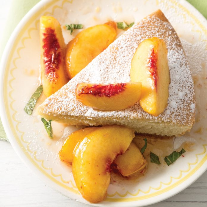 Skillet Pound Cake with Peaches