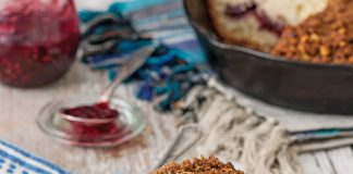 Raspberry Jam Coffee Cake with Pistachio Streusel