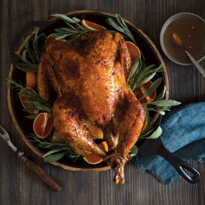 Skillet-Roasted Turkey with Bourbon-Orange Glaze