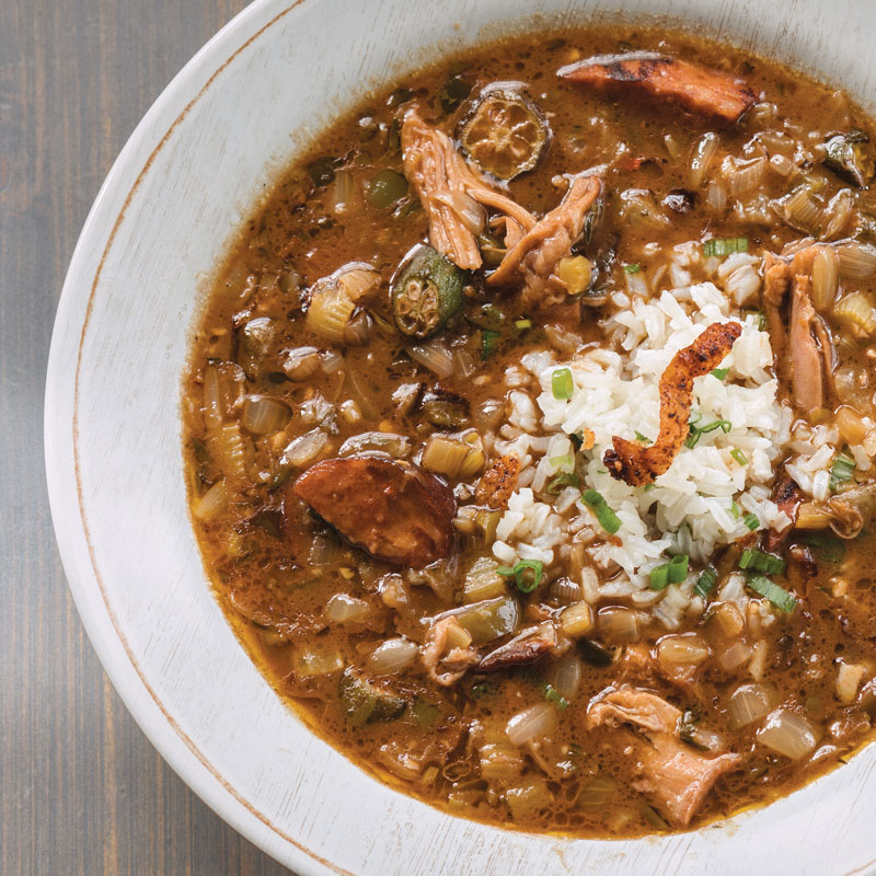 duck and andouille gumbo southern cast iron