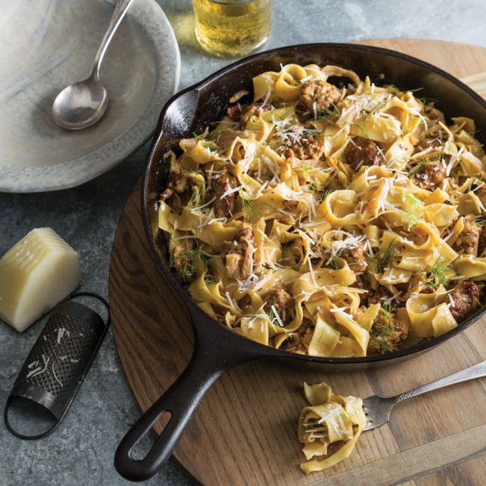 Sausage And Fennel Pappardelle Southern Cast Iron